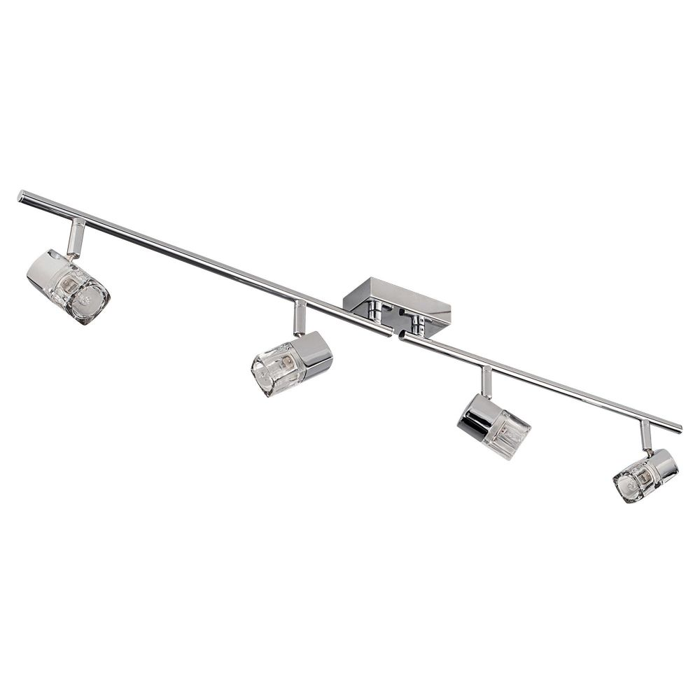 Blocs - 4 Light Spotlight Split-Bar, Chrome, Clear Glass (Ice Cube) 9884Cc-Led